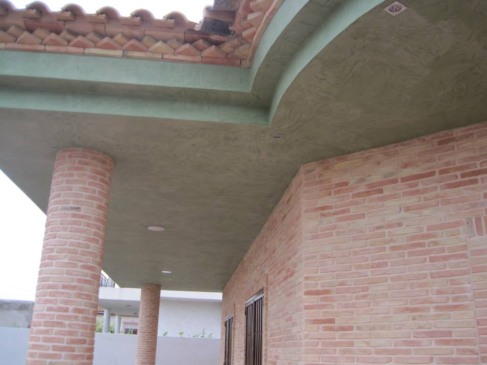 With lime stucco